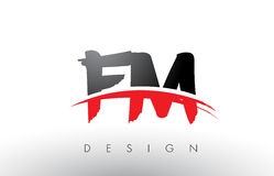 FM F M Brush Logo Letters with Red and Black Swoosh Brush Front. FM F M Brush Logo Letters Design with Red and Black Colors and Brush Letter Concept Stock Images