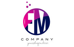 FM F M Circle Letter Logo Design with Purple Dots Bubbles. FM F M Circle Letter Logo Design with Purple Magenta Dots Bubbles Vector Illustration Royalty Free Stock Photo