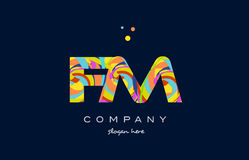 Fm f m colorful alphabet letter logo icon template vector Royalty Free Stock Images