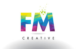 FM F M Colorful Letter Origami Triangles Design Vector. Royalty Free Stock Photos