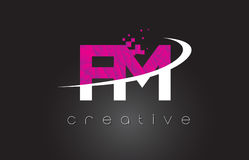 FM F M Creative Letters Design With White Pink Colors Royalty Free Stock Photos