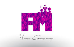 FM F M Dots Letter Logo with Purple Bubbles Texture. FM F M Dots Letter Logo with Purple Pink Magenta Bubbles Texture Vector Stock Photography