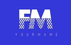 FM F M Dotted Letter Logo Design con el fondo azul Fotografía de archivo