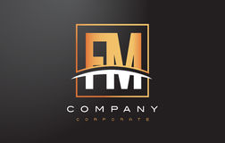 FM F M Golden Letter Logo Design with Gold Square and Swoosh. Royalty Free Stock Image