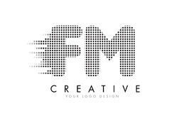 FM F M Letter Logo with Black Dots and Trails. FM F M Letter Logo Design with Black Dots and Bubble Trails Royalty Free Stock Images