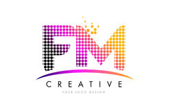 FM F M Letter Logo Design with Magenta Dots and Swoosh. FM F M Dots Letter Logo Design with Magenta Bubble Circles and Swoosh Royalty Free Stock Photo