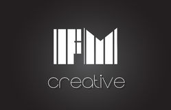 FM F M Letter Logo Design With White and Black Lines. Stock Images
