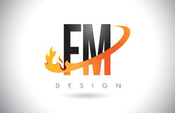FM F M Letter Logo with Fire Flames Design and Orange Swoosh. Royalty Free Stock Photo