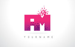 FM F M Letter Logo with Pink Purple Color and Particles Dots Des. FM F M Letter Logo with Pink Letters and Purple Color Particles Dots Design Stock Photography