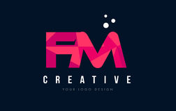 FM F M Letter Logo with Purple Low Poly Pink Triangles Concept Royalty Free Stock Images
