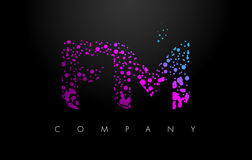 FM F M Letter Logo with Purple Particles and Bubble Dots Royalty Free Stock Images