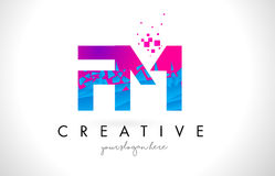 FM F M Letter Logo with Shattered Broken Blue Pink Texture Desig Stock Photos