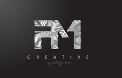 FM F M Letter Logo with Zebra Lines Texture Design Vector. FM F M Letter Logo with Zebra Lines Texture Design Vector Illustration Stock Image