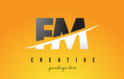FM F M Letter Modern Logo Design with Yellow Background and Swoo. FM F M Letter Modern Logo Design with Swoosh Cutting the Middle Letters and Yellow Background Royalty Free Stock Photography