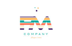 Fm f m line stripes pastel color alphabet letter logo icon templ. Fm f m alphabet letter logo colors colorful line stripe font creative text dots company vector Royalty Free Stock Image