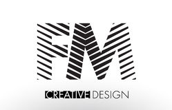 FM F M Lines Letter Design with Creative Elegant Zebra Royalty Free Stock Images