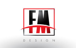 FM F M Logo Letters with Red and Black Colors and Swoosh. Stock Photos