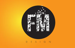 FM F M Logo Made of Small Letters with Black Circle and Yellow B. FM F M Logo Design Made of Small Letters with Black Circle and Yellow Background Royalty Free Stock Photo