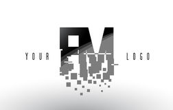 FM F M Pixel Letter Logo with Digital Shattered Black Squares. Creative Letters Vector Illustration Stock Photos