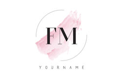 FM F M Watercolor Letter Logo Design with Circular Brush Pattern. FM F M Watercolor Letter Logo Design with Circular Shape and Pastel Pink Brush Stock Image