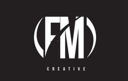 FM F M White Letter Logo Design avec le fond noir Photographie stock libre de droits