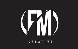 FM F M White Letter Logo Design com fundo preto Fotografia de Stock Royalty Free