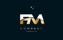 Fm f m  white yellow gold golden luxury alphabet letter logo ico Stock Photo