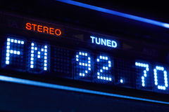 FM tuner radio display. Stereo digital frequency station tuned Royalty Free Stock Images