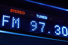 FM tuner radio display. Stereo digital frequency station tuned. Stock Images