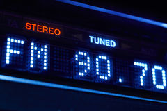 FM tuner radio display. Stereo digital frequency station tuned Royalty Free Stock Image