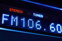 FM tuner radio display. Stereo digital frequency station tuned. Horizontal royalty free stock photo