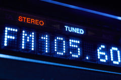 FM tuner radio display. Stereo digital frequency station tuned. Royalty Free Stock Image