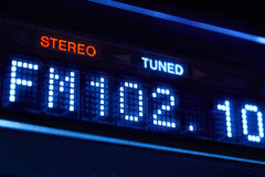 FM tuner radio display. Stereo digital frequency station tuned Stock Image