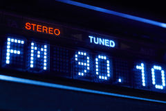 FM tuner radio display. Stereo digital frequency station tuned Royalty Free Stock Photography
