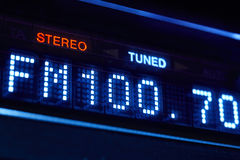 FM tuner radio display. Stereo digital frequency station tuned Stock Photo
