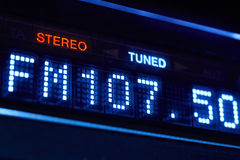 FM tuner radio display. Stereo digital frequency station tuned. Horizontal stock illustration