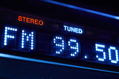 FM tuner radio display. Stereo digital frequency station tuned. Horizontal Royalty Free Stock Photography