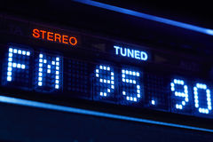 FM tuner radio display. Stereo digital frequency station tuned. Horizontal royalty free stock images
