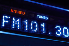 FM tuner radio display. Stereo digital frequency station tuned. Horizontal stock photo