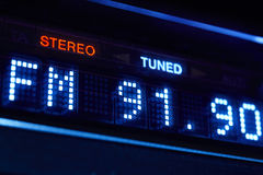 FM tuner radio display. Stereo digital frequency station tuned. Stock Photos