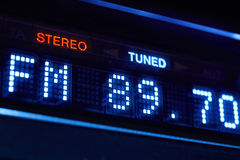 FM tuner radio display. Stereo digital frequency station tuned. Horizontal stock image