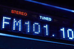 FM tuner radio display. Stereo digital frequency station tuned. Horizontal royalty free stock image