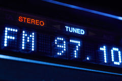 FM tuner radio display. Stereo digital frequency station tuned. Stock Image
