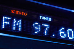 FM tuner radio display. Stereo digital frequency station tuned. Horizontal stock photos