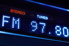 FM tuner radio display. Stereo digital frequency station tuned. Royalty Free Stock Images