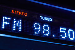 FM tuner radio display. Stereo digital frequency station tuned. Horizontal stock images
