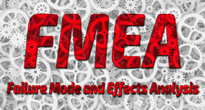 FMEA. Failure Mode and Effects Analysis. Red inscription `FMEA. Failure Mode and Effects Analysis` on the background of gears. Technologies and mechanism. 3D Royalty Free Stock Image