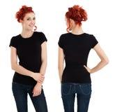 Fêmea lindo com a camisa preta em branco Fotos de Stock Royalty Free
