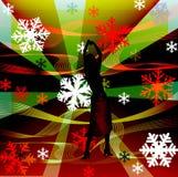 A fêmea mostra em silhueta a dança em um disco Fotografia de Stock