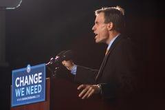 Fmr. Reg. Mark Warner bei Obama sammeln Stockbilder